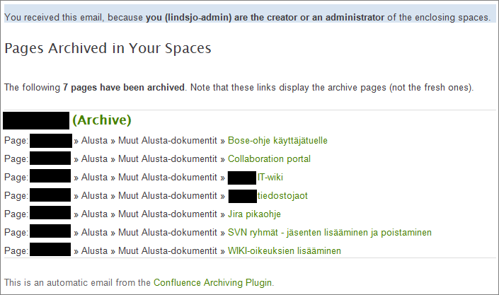 Email report of archived pages for Space Administrators