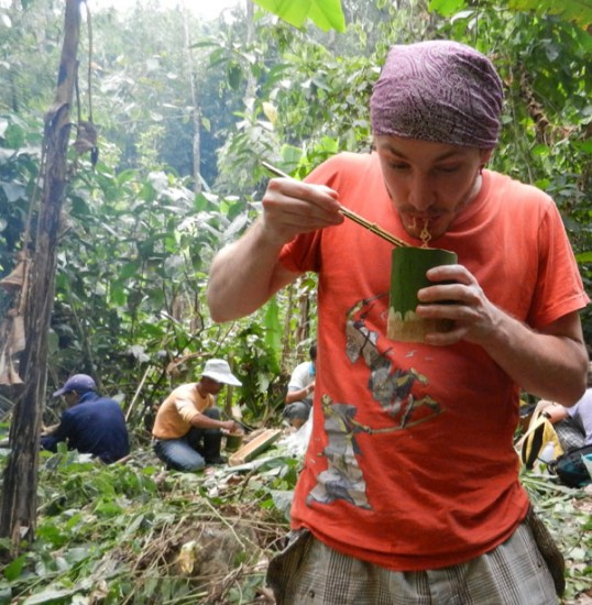 Eating noodle soup in the jungle
